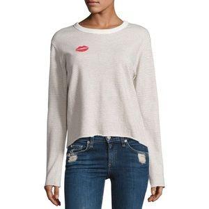 Monrow Women's Stripe Kiss Sweatshirt